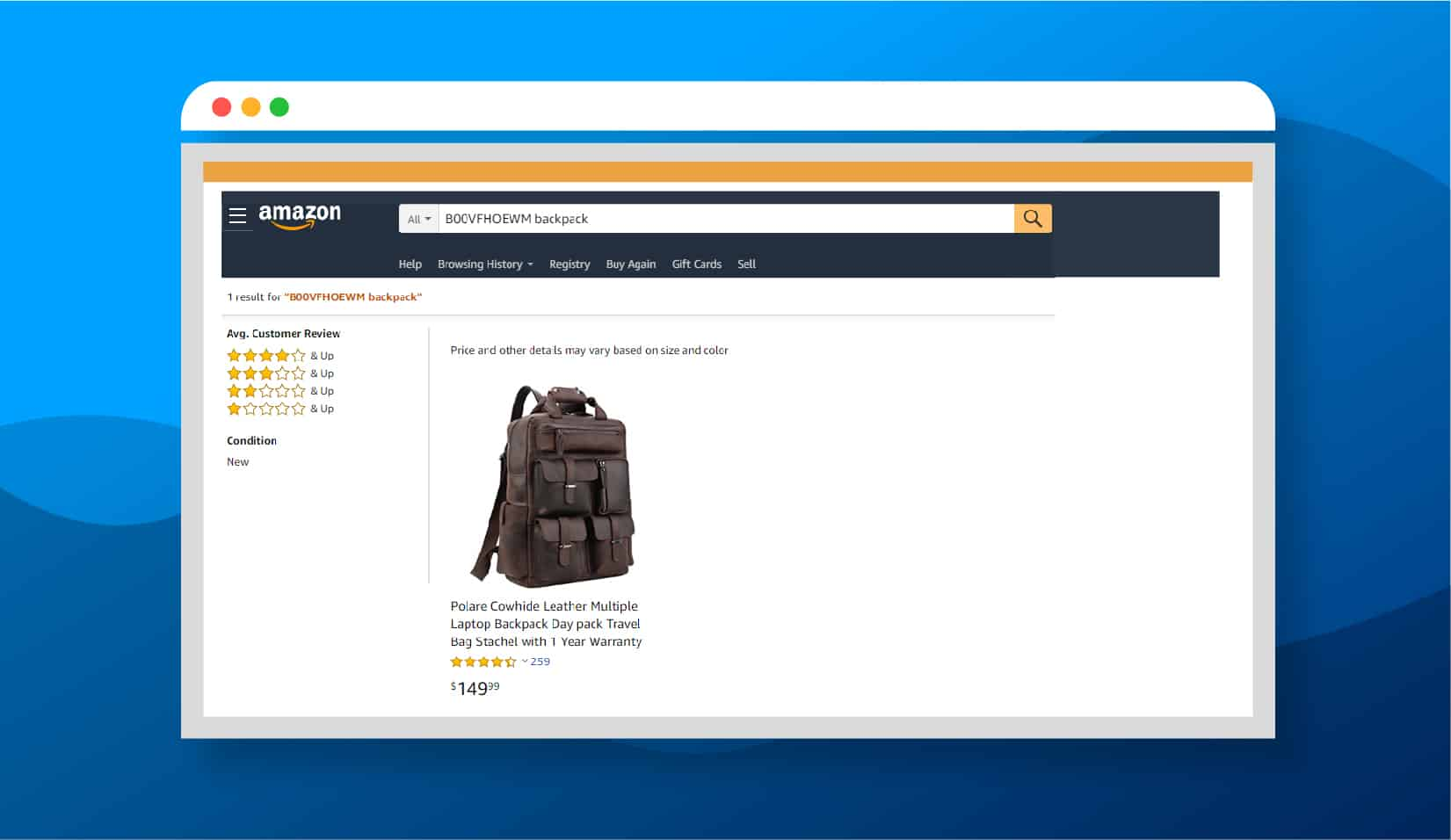 Amazon Screenshot Backpack Search