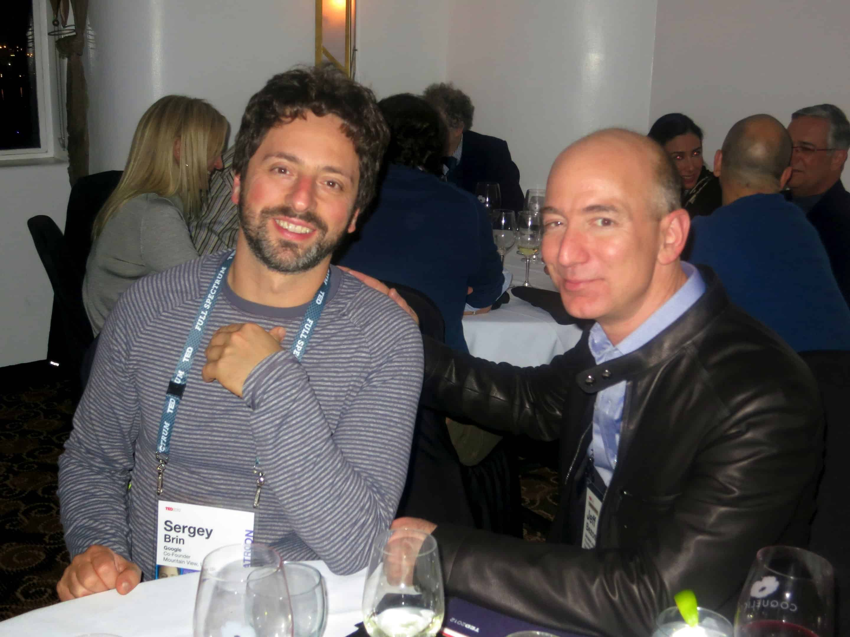 Sergey Brin and Jeff Bezos in Amazon/Google Conference