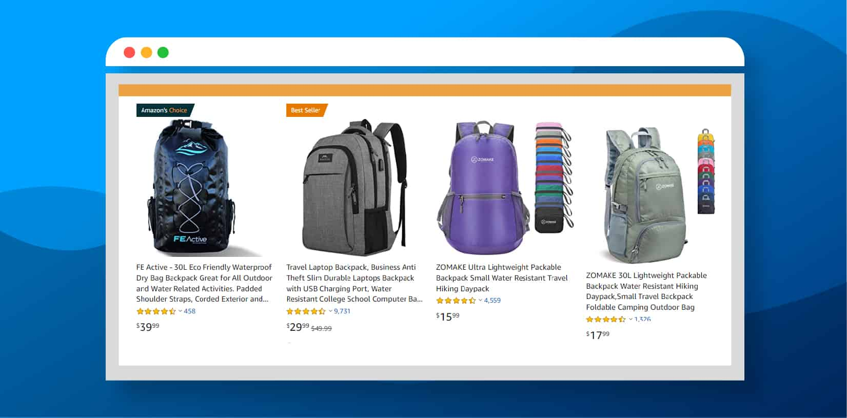 Small Amazon Screenshot Backpack Search