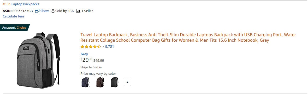 #1 in Laptop Backpacks on Amazon